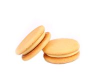 Biscuit sandwich with white filling. Close up. Royalty Free Stock Photos