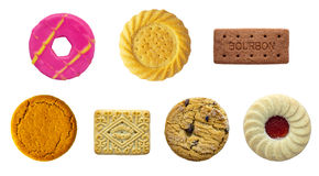 Biscuit Selection. All at correct scale to each other on a isolated white background with a clipping path stock image