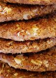 Biscuit Stack. Close up of a stack of oat biscuits Stock Images