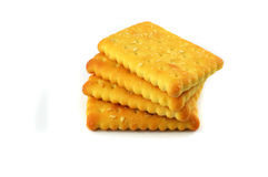 Biscuit stack. Delicious biscuit stack isolated on the white royalty free stock photos