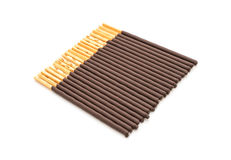 Biscuit stick with chocolate flavored Stock Photo