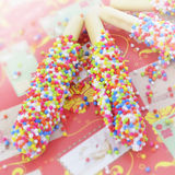 Biscuit stick coated with rainbow Royalty Free Stock Images
