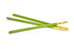 Biscuit stick with green tea flavored isolated on white backgrou Stock Photo
