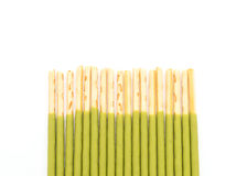 Biscuit stick with green tea flavored Royalty Free Stock Photography