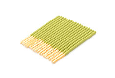 biscuit stick with green tea flavored Stock Image