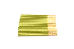Biscuit stick with green tea flavored Stock Photos
