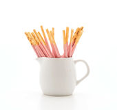 Biscuit stick with strawberry flavored Stock Images