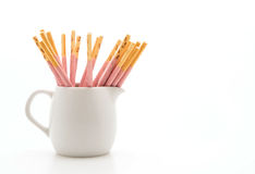 Biscuit stick with strawberry flavored Stock Photography