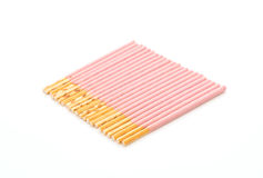 Biscuit stick with strawberry flavored Stock Photos