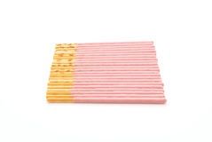 Biscuit stick with strawberry flavored Stock Image