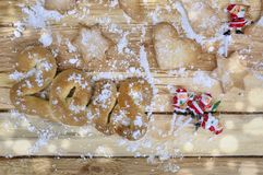 2018 in biscuit in sugar. On wooden  table Royalty Free Stock Photo