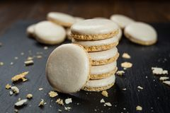 Biscuit sweet cookie background. Domestic stacked butter biscuit Stock Photo