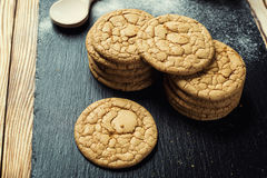 Biscuit sweet cookie background. Domestic stacked butter biscuit Royalty Free Stock Photos