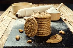 Biscuit sweet cookie background. Domestic stacked butter biscuit Stock Images