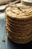 Biscuit sweet cookie background. Domestic stacked butter biscuit Royalty Free Stock Image