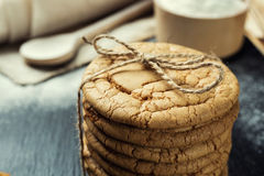 Biscuit sweet cookie background. Domestic stacked butter biscuit Royalty Free Stock Photography
