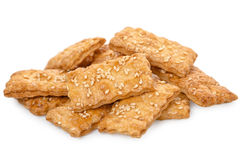 Biscuit sweet cookie cracker with sesame isolated on white, clos. E up Royalty Free Stock Photos