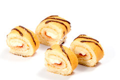 Biscuit Swiss roll  on white Stock Image