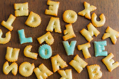 biscuit text Stock Image