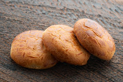 Biscuit. Three Biscuit Cookies  On Wooden Background Royalty Free Stock Photo