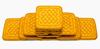 Biscuit tower  on white Royalty Free Stock Photos