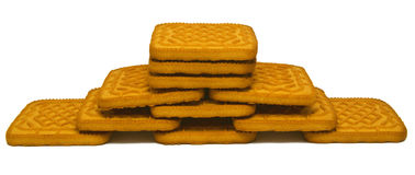 Biscuit tower  on white Stock Photo