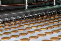 Biscuit and waffle production factory line, conveyor belt Stock Photo
