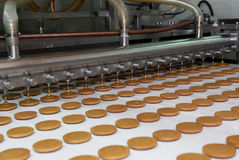 Biscuit and waffle production factory line. Manufacturing Royalty Free Stock Photos