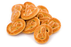 Biscuit on white. Object on white - food biscuit close up Royalty Free Stock Photography