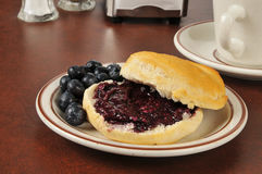 Biscuit with wild blueberry jam Royalty Free Stock Photography