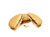 Biscuits. Broken biscuit and some crumbs Royalty Free Stock Images