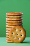 Biscuits. Arranged vertically with one facing straight Stock Photos
