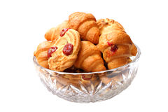 Biscuits. Sweet biscuits in a glass bowl over white Stock Images