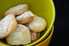Biscuits. Green Citrus biscuits in a bol stock images