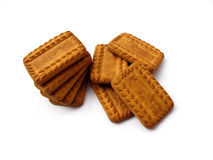 Biscuits. Stack of glucose biscuits isolated on white Stock Images