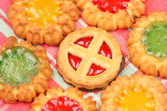 Biscuits. Various kinds of biscuits on decorative tablecloth Royalty Free Stock Photo