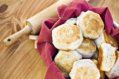 Biscuits. Homemade buttermilk biscuits and rolling pin Royalty Free Stock Photos