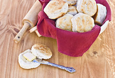 Biscuits. Homemade buttermilk biscuits and rolling pin Royalty Free Stock Photography