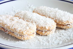 Biscuits. Three biscuit with coconut and chocolate Stock Photo