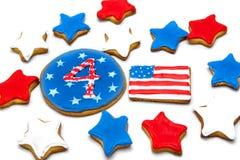 Biscuits américains de Jour de la Déclaration d'Indépendance Images libres de droits