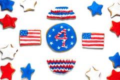 Biscuits américains de Jour de la Déclaration d'Indépendance Photographie stock libre de droits