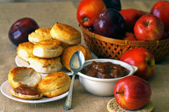 Biscuits with apple butter Royalty Free Stock Images