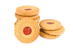 Biscuits avec de la confiture de fruit Photos stock