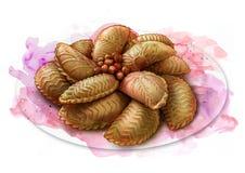 Biscuits avec des écrous, repas de vacances de l'Azerbaïdjan, croquis Photos libres de droits