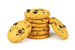 Biscuits avec des morceaux de revêtement de chocolat image stock