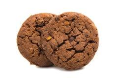 Biscuits avec du chocolat d'isolement photographie stock