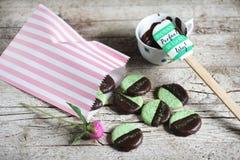 Biscuits avec du chocolat en bon état et foncé dans un sac de biscuit Image libre de droits