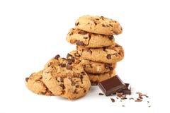 Biscuits avec du chocolat sur le blanc Images stock