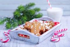 Biscuits avec du lait Images libres de droits