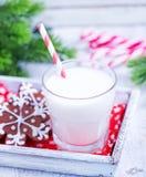 Biscuits avec du lait Photos stock